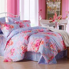 Light Blue and Rose Pink Girls English Garden Vintage Floral Print Paisley POP Unique 100% Cotton Damask Full, Queen Size Bedding Sets