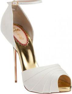 Christian Louboutin   white & gold open-toe stilettos