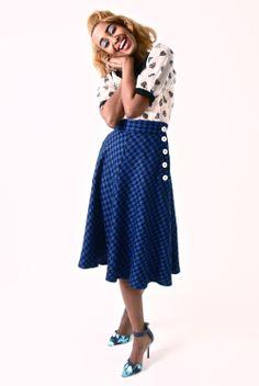 Blue Houndstooth 'Dancing Skirt' and Heart print Peter Pan collar Blouse, both by Tara starlet. www.tarastarlet.com