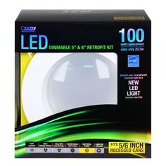 """Feit LEDR56/827 100w Replacement Dimmable 5 & 6 Inch 2700K LED Retrofit Kit - Energy efficient Performance LED Retrofit Kits are compatible with most 5"""" & 6"""" recessed cans. They are Energy Star Approved, easy to install, dimmable and last up to 50,000 hours. Each kit comes with a standard base adapter and a pre-mounted trim. www.bulkhydro.com BULK HYDRO INC"""