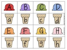 Summer Ice Cream Alphabet Match free printable. Preschool Learning Activities, Preschool Activities, Kids Learning, Teaching Resources, File Folder Activities, Alphabet Activities, Childhood Education, Kids Education, Ice Cream Theme