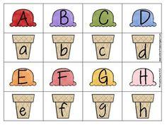 Summer Ice Cream Alphabet Match free printable. Pre K Activities, Alphabet Activities, Classroom Activities, Toddler Learning, Preschool Learning, Preschool Crafts, Ice Cream Theme, Kindergarten Reading, Early Childhood Education