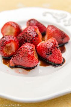 FRAGOLE ALL'ACETO BALSAMICO (Strawberries with Balsamic Vinegar)   A stupid simple recipe that will turn even the most insipid supermarket strawberries into something worth eating. And good strawberries into something extraordinary!