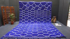 Vibration Blue Knotted Wool 9x13 Blue Area Rug Teppich Tapis Moroccan Berber Blue BENI OURAIN 100% wool Moroccan rug