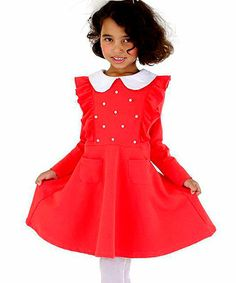 This Red Pearl Ruffle Collared Dress - Toddler & Girls is perfect! #zulilyfinds