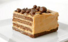 Ingredientes Receta para 10 a 12 porciones Galletitas de chocolate… 3 paquetes Dulce de leche repostero…400 grs. Queso crema…400 grs. Café o leche…c/n Chocolate amargo…c/n Procedimiento