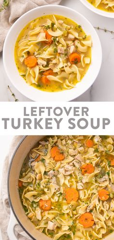 Healthy Soup Recipes, Entree Recipes, Dinner Recipes, Leftover Turkey Soup, Easy Turkey Soup, Turkey Noodle Soup, Leftovers Recipes, Kitchen Recipes, Soups And Stews