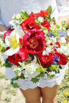 Third & Bloom Events and Florals - Peonies, poppies, stock, tulips, and greens.  Red, White & Blue, Americana Wedding Bouquet.