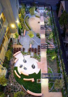 This pocket park in West Hollywood was designed by landscape architect Katie Spitz With water poles, benches, and natural vegetation, the tiny park opened in November Landscape Architecture Design, Landscape Plans, Urban Landscape, Landscape Bricks, Park Landscape, Space Architecture, Poket Park, Rooftop Design, Rooftop Decor