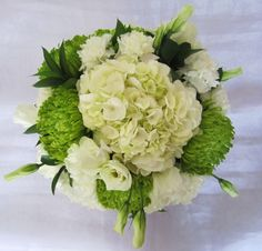 centerpiece sample with hydrangeas, lisianthus, carnations and Fuji mums for an August wedding; Design by Davis Floral Creations