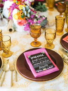 La Tavola Fine Linen Rental: Deco Floral Mustard with Tuscany Fuchsia Napkins | Photography: Rachel Solomon Photography, Design: Andrea Leslie Events, Florals: LUX Wedding Florist, Stationary: Freed Hands, Rentals: Classic Party Rentals, Fancy Lou Designs, and Glamour and Wood