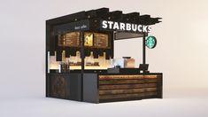 Starbucks on Behance Cafe Shop Design, Small Cafe Design, Kiosk Design, Cafe Interior Design, Food Stall Design, Food Cart Design, Restaurant Concept, Restaurant Design, Modern Restaurant