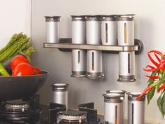 Wall Mounted Magnetic Spice Rack $41.99 Cool And Modern #fallcooking  #fallessentials Wall Spice Rack