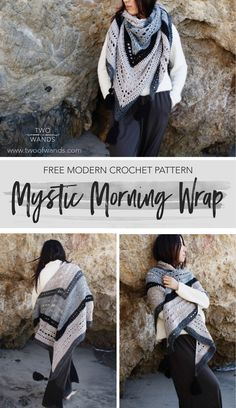 Mystic Morning Wrap — Two of Wands - Crochet - Cold Weather -You can find Wands and more on our website.Mystic Morning Wrap — Two of Wands - Crochet - Cold Weather - Crochet Wrap Pattern, Modern Crochet Patterns, Crochet Motifs, Shawl Patterns, Free Crochet, Crochet Triangle Scarf, Stitch Patterns, Knitting Patterns, Crochet Shawls And Wraps