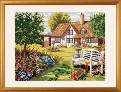 English Country House - cross stitch kit by Eva Rosenstand - A lovely sunny picture of house and garden with hollyhocks, rambling roses and a white summer seat with a straw hat. Cross Stitch House, Beaded Cross Stitch, Cross Stitch Kits, Cross Stitch Embroidery, Cross Stitch Patterns, Embroidery Patterns, Sunny Pictures, Cross Stitch Landscape, Cottage Art