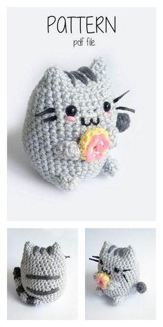 Crochet Kawaii, Chat Crochet, Crochet Mignon, Crochet Diy, Crochet Amigurumi Free Patterns, Crochet Animal Patterns, Crochet Crafts, Crochet Dolls, Knitting Patterns