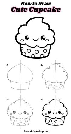 How to draw a cute cupcake, easy drawing tutorial, step-by-step, kawaii cupcake – Doodles Cute Easy Drawings, Cute Kawaii Drawings, Kawaii Doodles, Art Drawings For Kids, Doodle Drawings, Drawing For Kids, Doodle Art, Pencil Drawings, Easy Drawing Tutorial