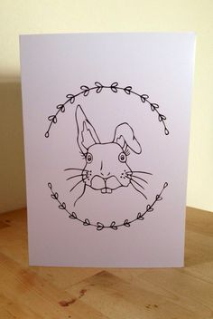 Woodland Bunny Blank Greetings Card by PrettiePlease on Etsy, Woodland, Bunny, Greeting Cards, Snoopy, Unique Jewelry, Handmade Gifts, Etsy, Vintage, Art