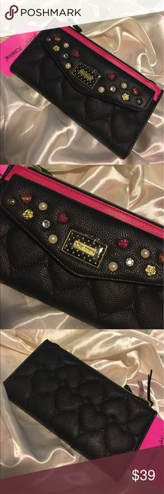 💥NET Betsey Johnson Quilted Double Zip Top Wallet BRAND NEW with tag Betsey Johnson Jewel Black and Hot Pink Double Top Wallet! It has 12 card slots and two zip top closure. Front has an open pocket. Will ship immediately, get her now❤ Betsey Johnson Bags Wallets