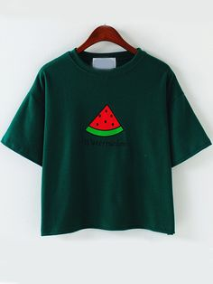 Green Short Sleeve Watermelon Embroidered T-Shirt 13.33
