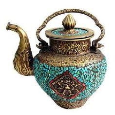 Tibetan Turquoise Red Coral Teapot...con lo que me encanta tomar té!