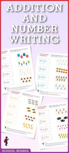 Free kindergarten worksheets that feature simple addition equations for children to complete.