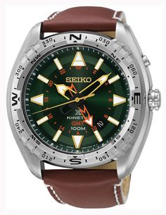 Seiko Prospex Kinetic Green Dial Brown Leather Band Men's Watch Seiko Kinetic Gmt, Daniel Wellington, Tommy Hilfiger, Authentic Watches, Best Watch Brands, Online Watch Store, Black Bracelets, Seiko Watches, Luxury Watches For Men