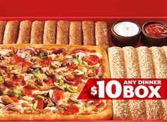 Pizza Hut Deal - $10 any dinner box. Includes: medium pizza with any toppings, 5 freshly baked Breadsticks and 10 cinnamon sticks. Limited time only