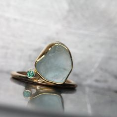 Alluvial Aquamarine Emerald Gold Ring by NangijalaJewelry on Etsy