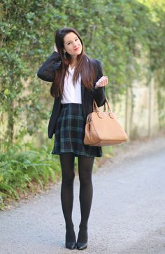 Prep School Meets Happy Hour: Blazer + Black Plaid Skirt - Diary of a Debutante