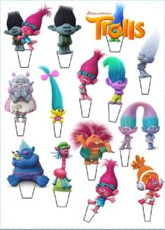 """14 x 3"""" TROLLS STAND UP TROLL PRECUT Edible Wafer Cupcake Toppers #TootsiesCakesToppers #Cupcakes"""