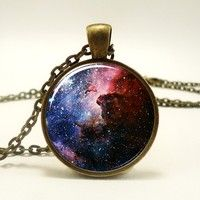 Carina Nebula Necklace, Galaxy Jewelry, Universe Pendant