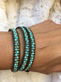 NEW-Chan-Luu-White-Turquoise-And-Gold-Nuggets-Mix-3-X-Wrap-Bracelet-on-Leather