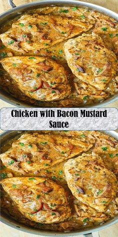 Chicken with Bacon Mustard Sauce Salmon Burgers, Mustard, Chicken Recipes, Bacon, Wings, Ethnic Recipes, Sweet, Food, Mustard Plant