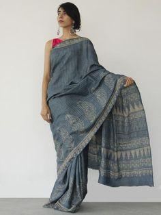 Tussar Handloom Silk Hand Block Printed Saree in Metallic Blue Beige - S031702544