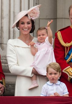 Catherine, Duchess of Cambridge with Princess Charlotte of Cambridge and Prince George of Cambridge during the Trooping the Colour, this year marking the Queen's 90th birthday at The Mall on June 11, 2016 in London, England.