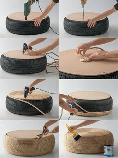 Reutilizando pneus na decoração. Fica lindo interna e externamente! (puff-pneu)