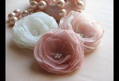 Ivory hair flower Blush hair flower Pink wedding Blush hair piece First…