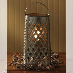 Country Lamps and Lighting - Cheese Grater Lamp. Tall x Diameter. From the Park Designs country lighting collection. Primitive Country Bedrooms, Primitive Living Room, Primitive Kitchen Decor, Primitive Homes, Prim Decor, Primitive Crafts, Country Primitive, Primitive Christmas Decorating, Primitive Christmas Tree