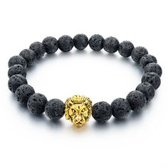 Grey Natural Stone Gold Lion Strand Bracelet