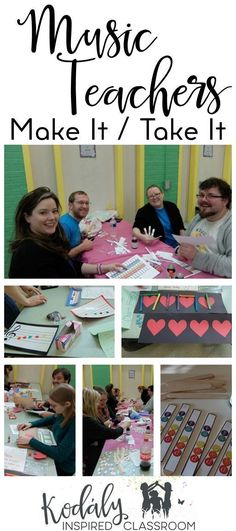Organizing a Make It / Take It Workshop, Inservice or get together for Music Teachers - Get crafty making fun manipulatives for your music classroom! Manipulative ideas for steady beat, rhythm, and melody! Rhythm cubes, beat charts, solfege texting sticks, I have, Who Has games, and bingo chip notes. Plus FREE templates! Kodaly Inspired Classroom