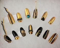 Ran Kowatari Nails | studded nails, long nails, chain, rhinestones, lace