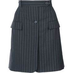 Monse pinstriped fitted skirt ($1,435) ❤ liked on Polyvore featuring skirts, grey, grey skirt, fitted skirt, gray skirt, grey wool skirt and woolen skirt
