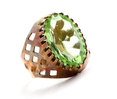 Vintage Green Stone Ring - Retro Brass Statement Large Oval Light Green Costume Jewelry / Peridot by Maejean Vintage, $20.00