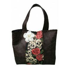 Brown Embossed Pleather and Skull Roses Tote-Rebel Circus