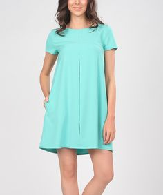 Loving this Turquoise Pleated Swing Dress on #zulily! #zulilyfinds