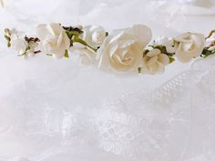White Rose Bridal flower crown, Flower headpiece, Bridal wreath, Flower crown wedding, Woodland wedding, Boho flower crown, Floral crown  White Rose Paper Flower Crown with small leaves, white sweet pip berries, faux bark wire base that fully encircles the head, adorned with Beautiful detachable vintage style Lace 1.5 thick, 36 Length (Each Strand) ~~~ DETAILS ~~~  ♡ Fits a 21-22 size head ♡ Largest Rose 1.2 ♡ Smallest Rose 0.5 ♡ Everlasting Flowers ♡ Handmade with Love for YOU by mother…