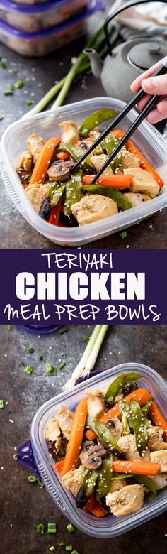 Easy Sesame Teriyaki Chicken Bowls (Meal Prep) are soooo easy and so good. Cooked on a sheet pan. Great for dinner or meal prep!