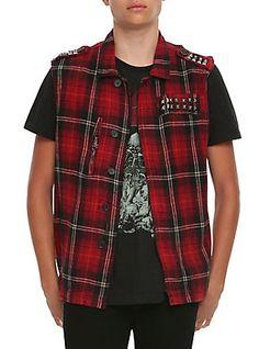 Tripp Red Plaid Studded Vest,