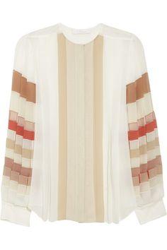 Pleated silk-georgette blouse by Chloé #HowToWear #Pastels
